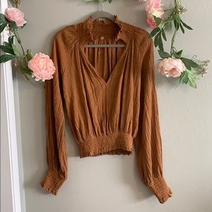 Free People one camel long sleeve cinched waist